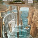Awesome 3D Street Art Of Waterfall And Sea