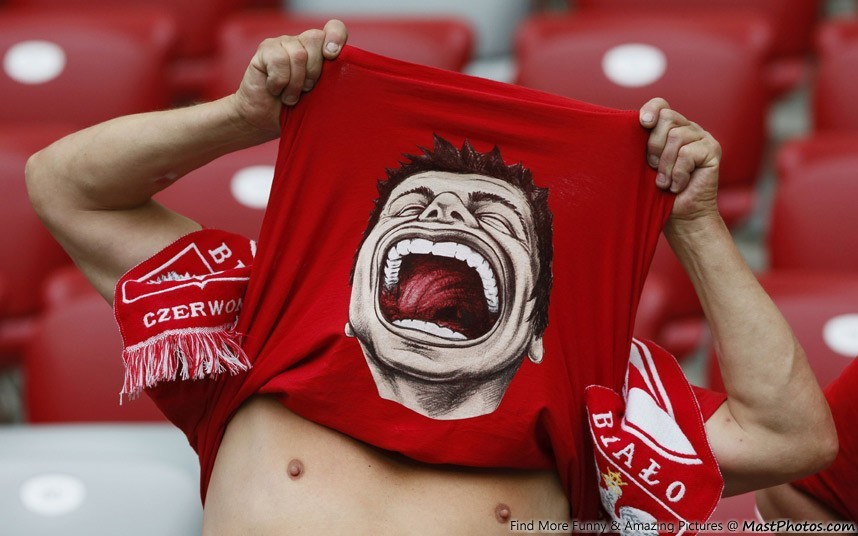 Funny Face On Red T-Shirt