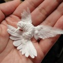 A White Bird Purely Made From a Paper
