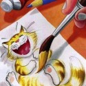 Awesome Painting Of Laughing Cat