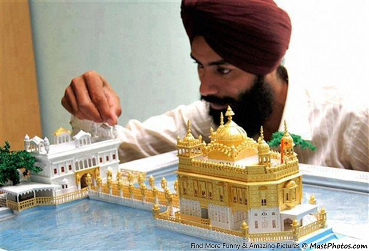 golden temple model made using paper only