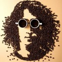 Portrait Made With Coffee Beans And Mugs