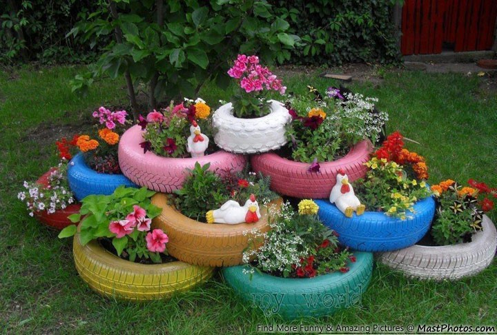 Lovely Garden Made From Tires