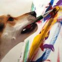 A Dog Is Painting With His Mouth