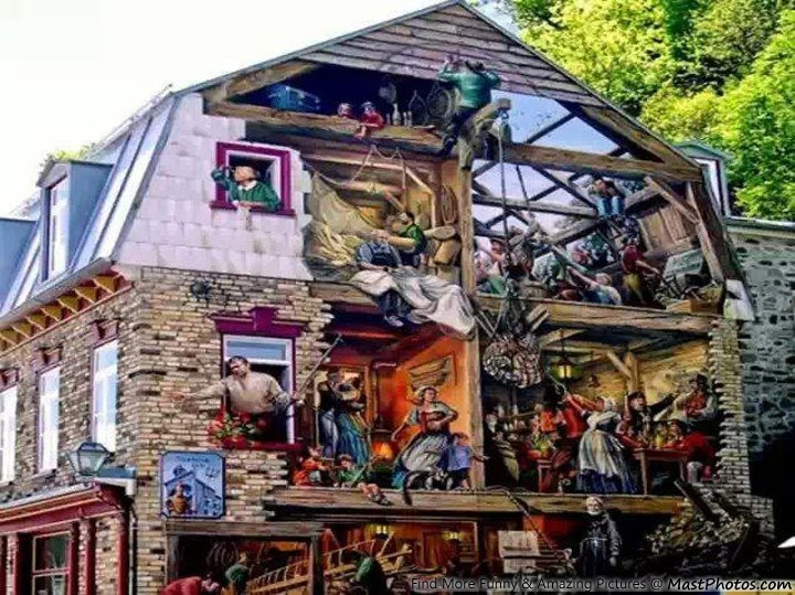 awesome 3d painting on the side wall of a house