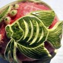 Creative Fish Art Work On Watermelon