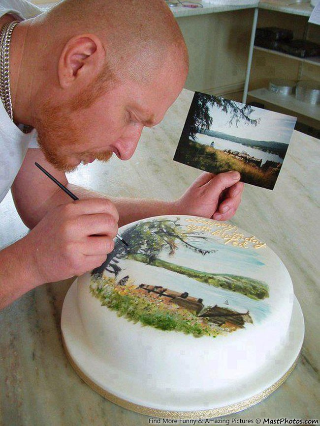 Amazing Cake Artist : Mike s Amazing Cakes   Painting Scenery On Cake