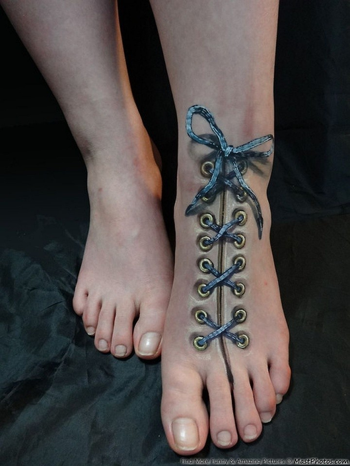 a realistic tattoo tied shoe lace on the foot. Black Bedroom Furniture Sets. Home Design Ideas