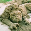 Amazing Sand Art Lion Looking Real