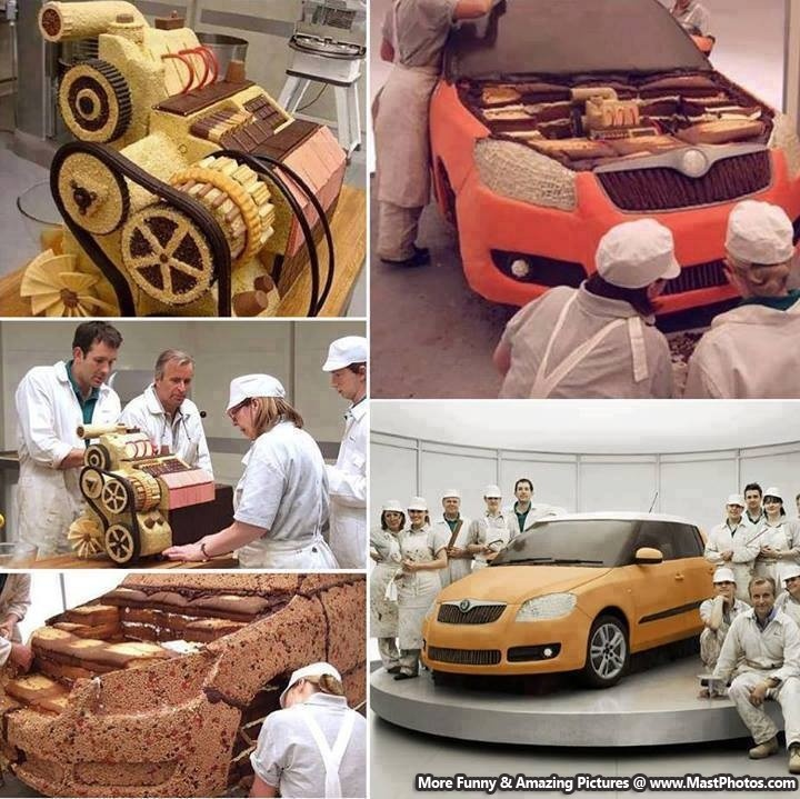 skoda fabia car cake advert