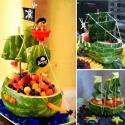 Pirate Ship Made Of Watermelon